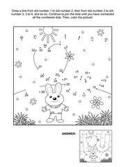 Valentine's Day themed connect the dots picture puzzle and coloring page with I Love You hidden message and little cute hare or bunny. Answer included.