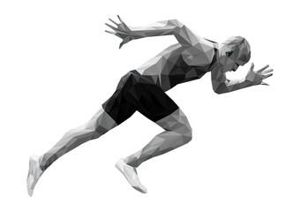 start running sprinter man athlete low poly silhouette