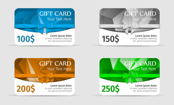 Gift cards polygonal background with bow and ribbon. Gift voucher 100$, Gift voucher 150$, Gift voucher 200$, Gift voucher 250$.
