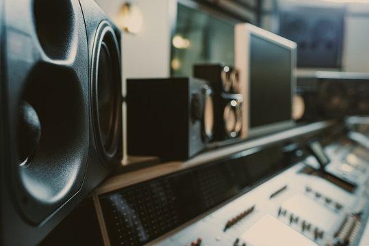 close-up shot of dynamic monitors at recording studio