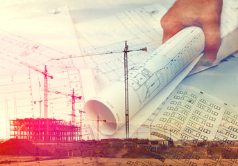 Arquitecto y planos.Concepto de arquitectura y construccion.Gruas y construccion de casas