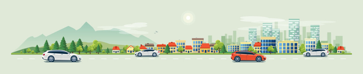 Flat vector cartoon style illustration of urban landscape road with cars, skyline city office buildings and family houses in small town village in backround with forest and mountain.