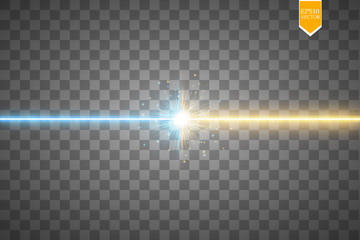 Star clash and explosion light effect, neon shining laser collision surrounded by stardust on transparent background. Expressive illustration, technical innovation, shocking news or invention symbol.