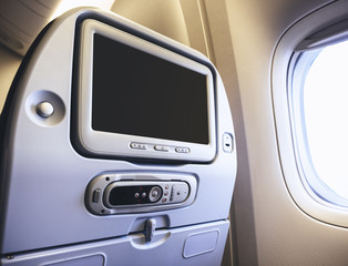 Airplane seats Blank screen monitor Passenger Entertainment on board