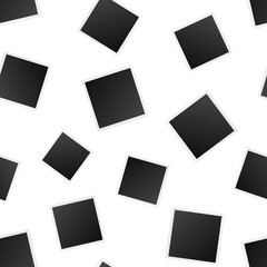 Blank photo frame seamless pattern background. Business flat vector illustration. Photoframe symbol pattern.