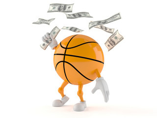 Basketball character with money