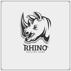 The emblem with rhino for a sport team.