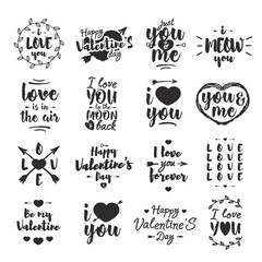 Valentines day emblem set black color with typography congratulations isolated on white background for use greeting card, label, tag, decoration, stamp, poster, quote, sale banner. Vector Illustration