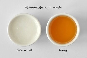 Homemade hair mask made out of coconut oil and honey