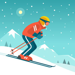 Skiing in the mountains. Vector illustration in trendy flat style with skier in red red sports suit skiing downhill on the snow mountains landscape background.