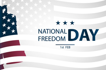 1st February National Freedom Day Illustration with a  Liberty Bell as a symbol of freedom. posters template.  American Flag as background.