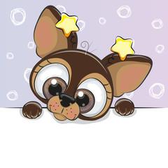 Greeting card cute Cartoon dog