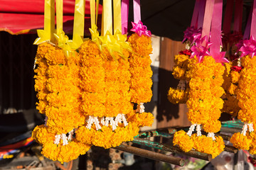 Shop flower garland in the morning.Thailand.