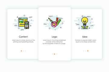 Onboarding screens design in branding concept. Modern and simplified vector illustration, Template for mobile apps.