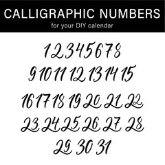 Calligraphic numbers for your DIY calendar design. Modern calligraphy set.