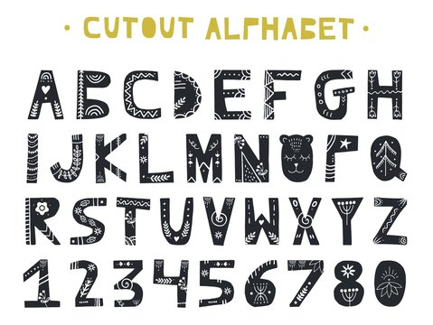 Cutout ABC - Latin alphabet. Unique handmade letters with folk art ornament in scandinavian style.