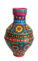 Handmade artistic pained colorful pottery vase isolated on white