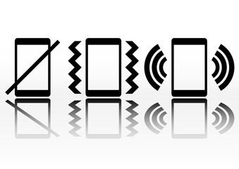 Phone sound icon with floor mirror shadow