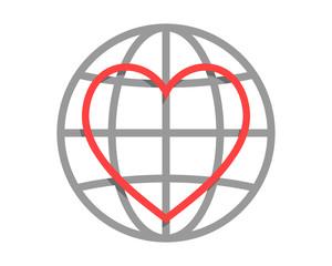 love heart line circle globe image vector icon logo