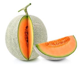 cantaloupe melon slices isolated on white