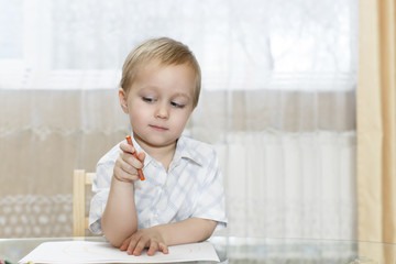 little boy draws in colorful pencils sitting at the table