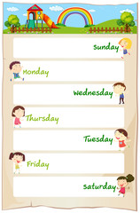 Days of the week poster with happy children