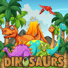 Different types of dinosaurs by the volcano