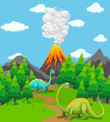 Two dinosaurs and volcano eruption