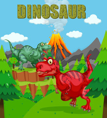 Dinosaur poster with two t-rex in the field