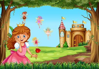 Cute princess and fairies in garden