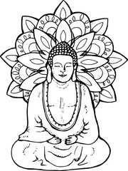Illustration of a meditating buddha. Mandala in the style of sentangle. Street art