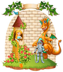 Princess in tower and knight with dragon pet
