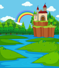 Background scene with castle towers and river