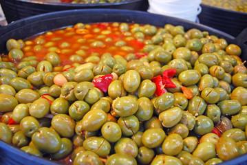 Photo sur Aluminium Assortiment Aceitunas españolas