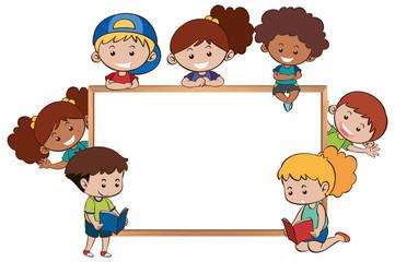 Whiteboard and happy kids around it