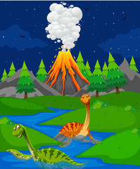 Scene with two dinosaurs in river