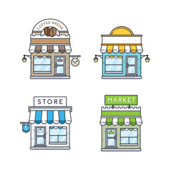 Vector set of store buildings. Shops design elements, icons in flat and outline style isolated on white background. Storefronts vector illustration