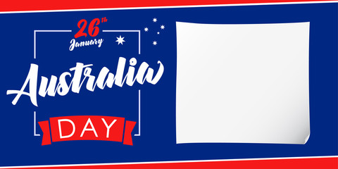 Australia day, 26 January banner. Vector illustration for 26th january Australia day lettering banner background with national flag colors