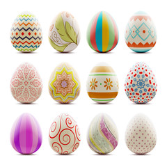 Set of Easter decorated eggs isolated