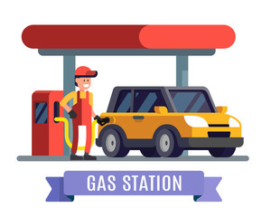 Gas station worker filling up fuel into car.