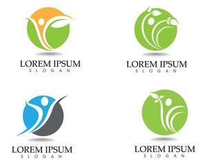 Health logo template and symbols leaf green