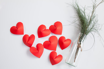 Heart-shaped paper and glass jar Arrange as background. This is the symbol of love. For In February 14th, which was a day of love.