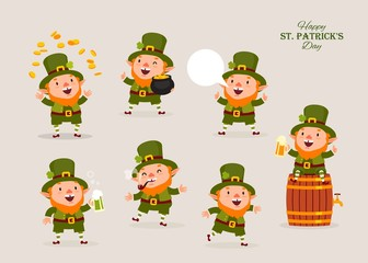 Leprechaun, Vector Illustration, St. Patrick's Day, Isolated Objects for Design, Vector, Set of Characters 1