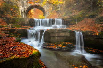 Autumn river / Autumn view with a river and an old bridge, Bulgaria