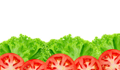 lettuce with tomato on white background.