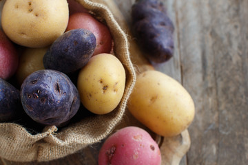 Raw potatoes close up