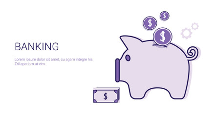 Banking Business Concept Money Savings Template Web Banner With Copy Space Vector Illustration