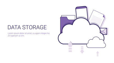 Data Storage Cloud Computing Business Concept Template Web Banner With Copy Space Vector Illustration