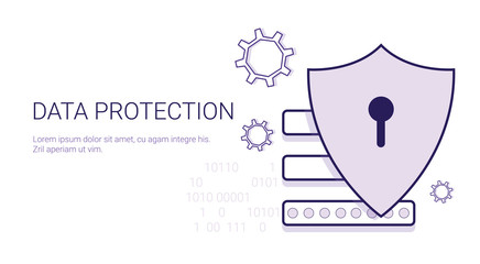 Data Protection Security Online Business Concept Template Web Banner With Copy Space Vector Illustration