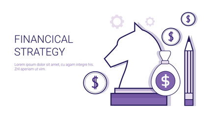 Financial Strategy Business Marketing Planning Web Banner With Copy Space Vector Illustration